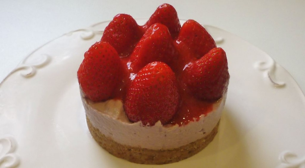 Cheese cake vegetale fragole